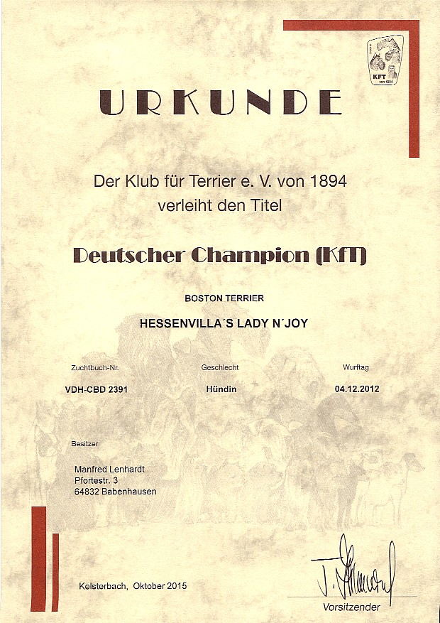 urkunde deutscher champion lady